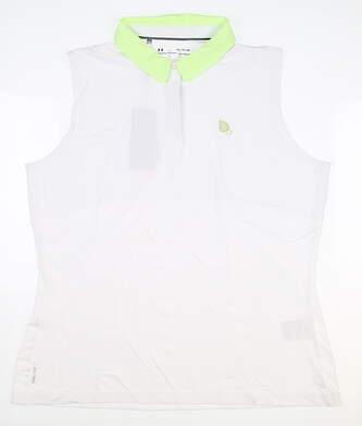 New W/ Logo Womens Under Armour Sleeveless Polo X-Large XL White MSRP $70 UW0494