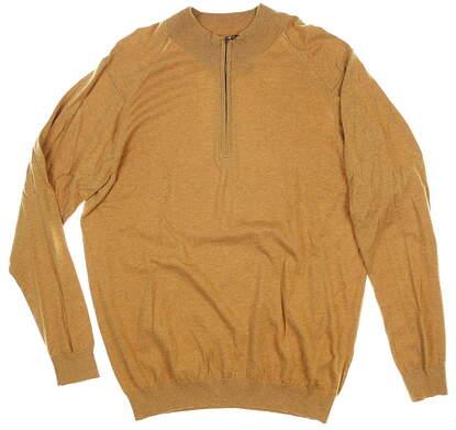 New W/ Logo Mens Greg Norman 1/4 Zip Sweater Medium M Tan MSRP $89