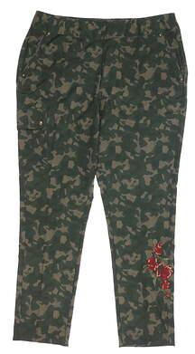 New Womens Greg Norman Camo Golf Pants 10 Green MSRP $100 G2F9P590