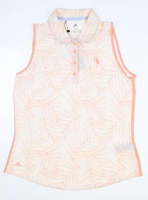 New W/ Logo Womens Adidas Sleeveless Golf Polo X-Large XL White MSRP $67 EI7541
