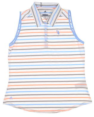 New W/ Logo Womens Adidas Sleeveless Polo Large L Multi MSRP $67
