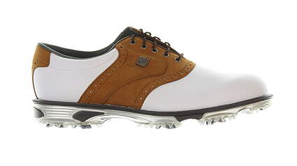 New Mens Golf Shoe Footjoy Dryjoys Tour Medium 11.5 White/Brown MSRP $280 53699