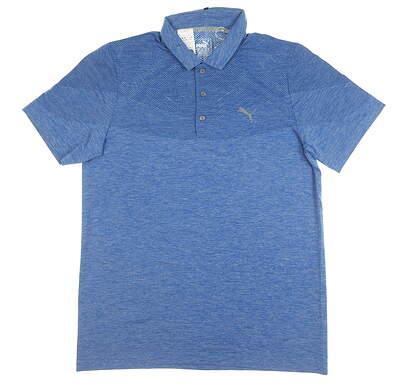 New Mens Puma Evoknit Golf Polo Large L Blue MSRP $75 573283