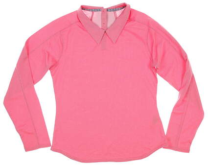 New Womens Puma Long Sleeve Golf Polo Small S Azalea MSRP $65 595133