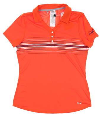 New W/ Logo Womens Under Armour Polo Medium M Orange MSRP $90 UW1415