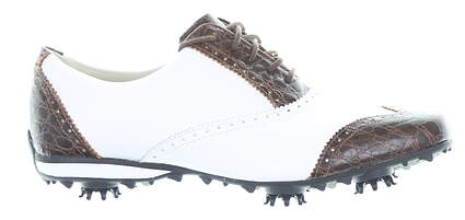 New Womens Golf Shoe Footjoy LoPro Collection Medium 9 White/Brown MSRP $60 97182