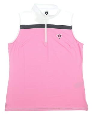 New W/ Logo Womens Footjoy Lisle Sleeveless Golf Polo Large L Pink MSRP $76 26241