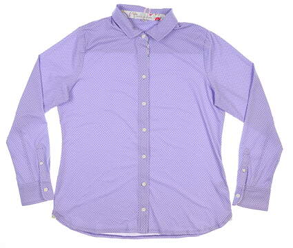 New Womens Fairway & Greene Bethany LS Button Down Polo Large L Lilac MSRP $109 K32230