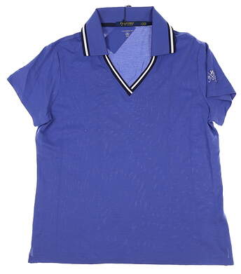 New W/ Logo Womens Ralph Lauren Golf Polo Large L Blue MSRP $98