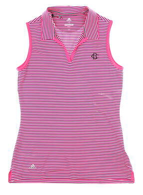 New W/ Logo Womens Adidas Sleeveless Golf Polo X-Small XS Pink MSRP $65 CW6662