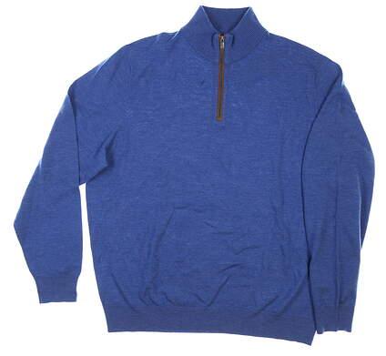 New W/ Logo Mens Ralph Lauren 1/4 Zip Sweater X-Large XL Blue MSRP $195