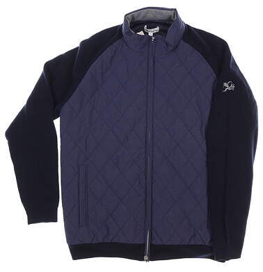 New W/ Logo Mens Peter Millar Crown Elite Quilted Jacket Medium M Navy Blue MSRP $270 MF19S72