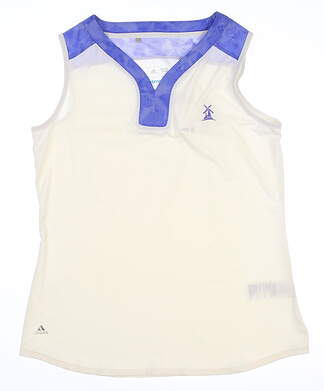 New W/ Logo Womens Adidas Sleeveless Mock Polo Large L White MSRP $60 AE8652