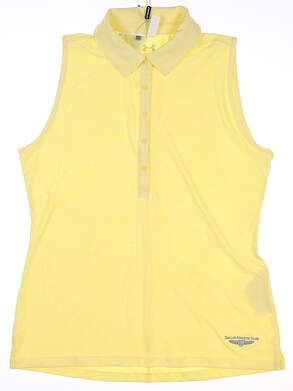 New W/ Logo Womens Under Armour Sleeveless Polo Large L Yellow MSRP $70 UW0455