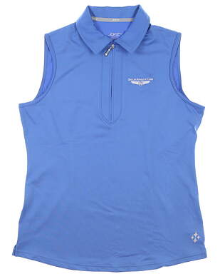 New W/ Logo Womens Jo Fit Sleeveless Polo Medium M Blue MSRP $70 UT122-FBL