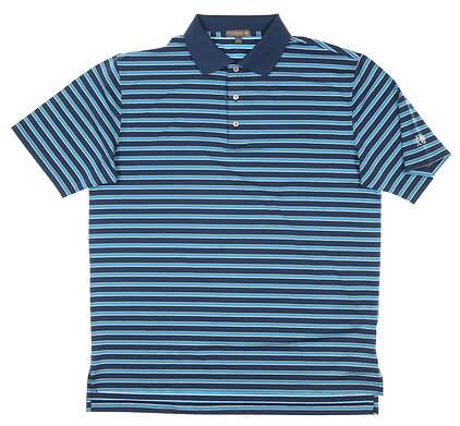 New W/ Logo Mens Peter Millar Golf Polo Large L Blue MSRP $98 MF17EK14