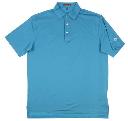New W/ Logo Mens Peter Millar Golf Polo Medium M Blue MSRP $98 MF17EK01S