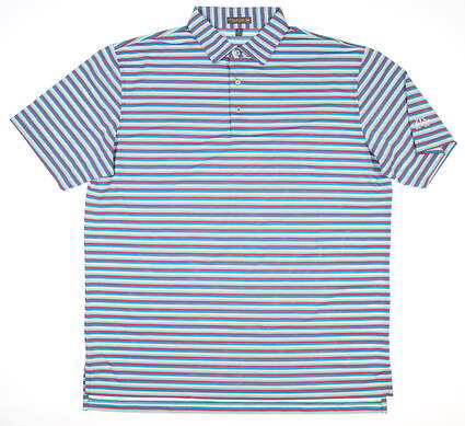 New W/ Logo Mens Peter Millar Polo X-Large XL Blue/Pink/White MSRP $79
