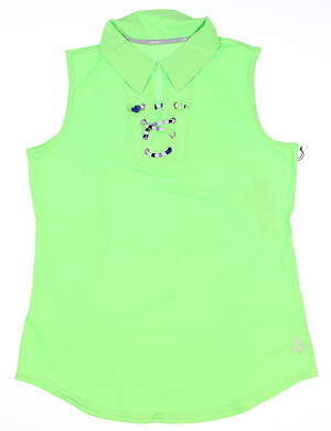 New Womens Jo Fit Lace Up Sleeveless Polo Medium M Green MSRP $79 GT223