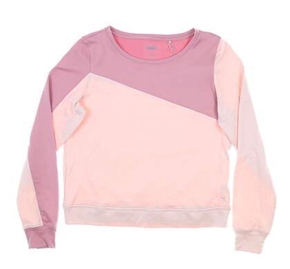 New Womens Puma LS Color Block Crew Neck Small S Pink MSRP $65 597713 0313 03