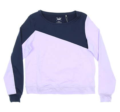 New Womens Puma LS Colorblock Crew Neck Small S Navy/Lavender MSRP $65 597713 08