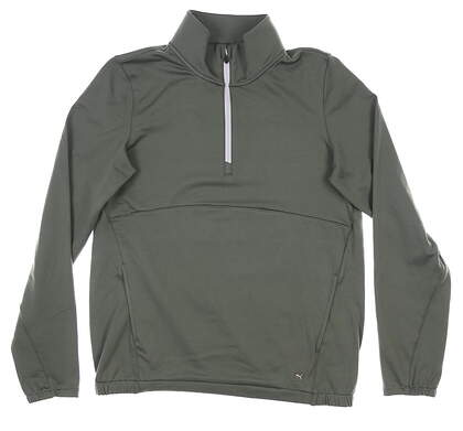 New Womens Puma Cloudspun 1/4 Zip Golf Pullover Small S Thyme MSRP $65 597712 01