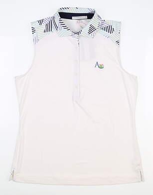 New W/ Logo Womens Fairway & Greene Sleeveless Polo Medium M White MSRP $70 J32222