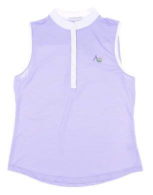 New W/ Logo Womens Fairway & Greene Sleeveless Polo Medium M Purple MSRP $70 K32222