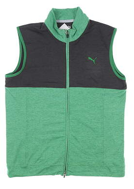 New Mens Puma Cloudspun Warm Up Golf Vest Medium M Green/Black MSRP $80 597127
