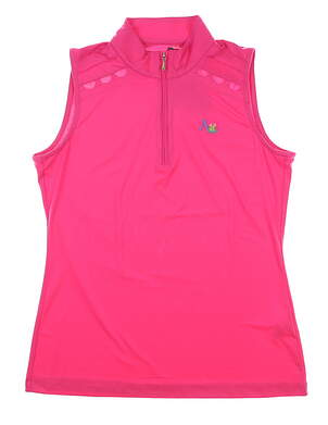 New W/ Logo Womens EP NY Sleeveless Polo Medium M Pink MSRP $70