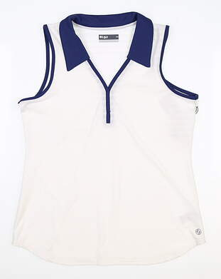 New Womens Lija Sleeveless Polo Medium M White MSRP $90
