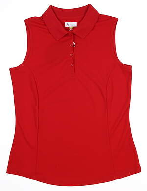 New Womens Greg Norman Sleeveless Golf Polo Small S Red MSRP $52 G2S5K448