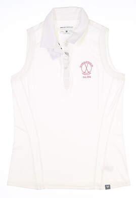 New W/ Logo Womens Level Wear Sleeveless Polo Medium M White MSRP $60 BL06L