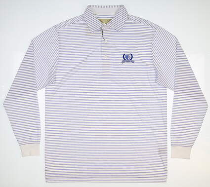 New W/ Logo Mens DONALD ROSS Long Sleeve Golf Polo Small S White MSRP $90