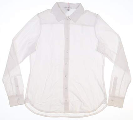New Womens Fairway & Greene Beth Button Down Polo Medium M White MSRP $99 I12232