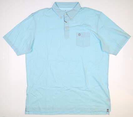 New W/ Logo Mens Peter Millar Golf Polo X-Large XL Blue MSRP $98 MF19K88CB