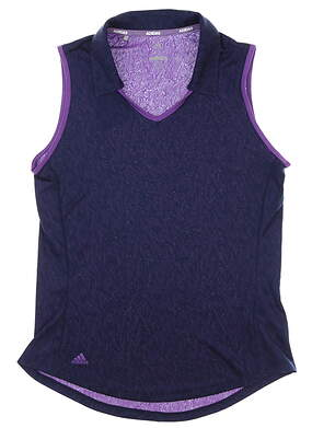 New Womens Adidas Sleeveless Golf Polo X-Small XS Purple MSRP $60 DP5801