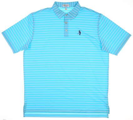 New W/ Logo Mens Peter Millar Golf Polo Large L Blue MSRP $89 MS19EK14S
