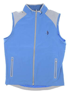 New W/ Logo Mens Peter Millar Full Zip Golf Vest Large L Blue MSRP $165