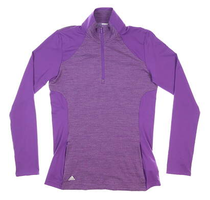 New Womens Adidas Knit 1/4 Zip Pullover Small S Purple MSRP $75 DP5791