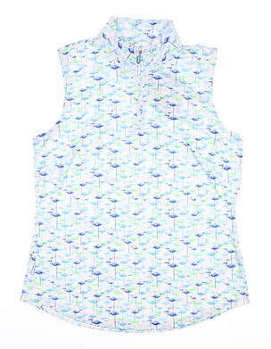 New Womens Greg Norman Sleeveless Golf Polo Small S Blue MSRP $60 G2S8K307