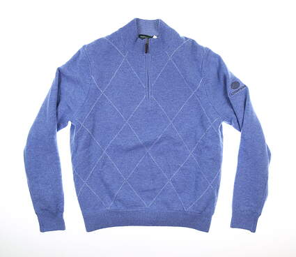 New W/ Logo Mens Fairway & Greene Cheltenham Wind Sweater Medium M Blue MSRP $215