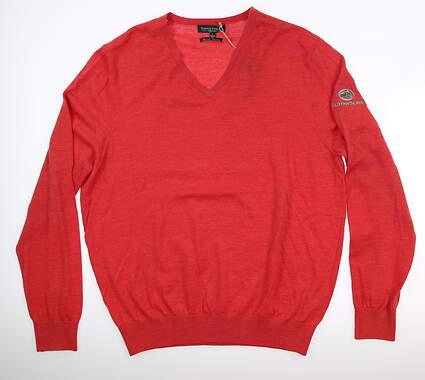 New W/ Logo Mens Fairway & Greene Merino Sweater Large L Red MSRP $155 A11140