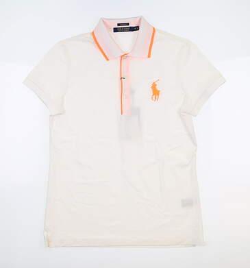 New Womens Ralph Lauren Polo Medium M White/Orange MSRP $50