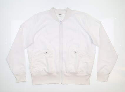 New Womens Jo Fit Mesh Bomber Jacket Large L White MSRP $130