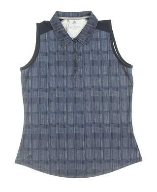 New Womens Adidas Ultimate Sleeveless Polo Medium M Navy Blue MSRP $60 DP5913