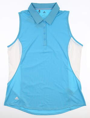 New Womens Adidas Sleeveless Polo Large L Blue MSRP $60 DQ0550