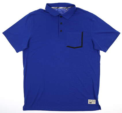 New Mens Puma Faraday Polo Large L Blue MSRP $70 577878