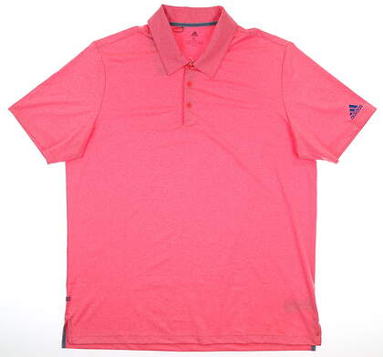 New Mens Adidas Ultimate 2.0 Heather Polo X-Large XL Pink MSRP $65 DT3673