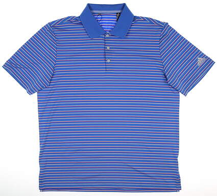 New Mens Adidas Ultimate 2.0 Stripe Polo Large L Blue MSRP $65 DQ2362